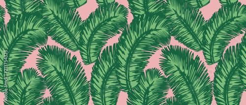 Wzór liści tropikalnych palm. Bezszwowe tło wektor.