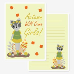 Vector cartoon illustration with cute raccoon girl under mapple leaves suitable for Autumn card design, Invitation card, and greeting card © saidi21ns