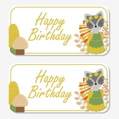 Vector cartoon illustration with cute raccoon smiles with musrooms and flowers suitable for birthday label design, banner set and invitation card © saidi21ns