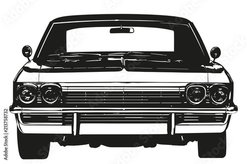 Wall mural Vintage american muscle car from the 1970s silhouette vector