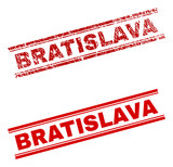 BRATISLAVA stamp seal watermark with distress and clean styles. Red vector rubber print of BRATISLAVA caption with grunge texture. Text caption is placed between double parallel lines.