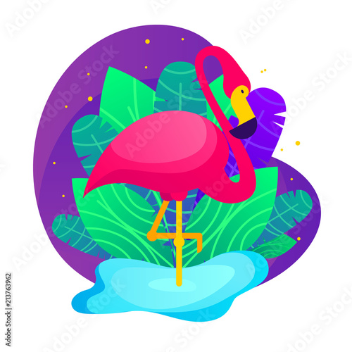 Vector colorful  flamingo and tropical leaves. Trendy illustration for print and greetings cards with exotic plants and pink bird over purple background. Flamingo staying one leg in blue water