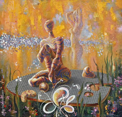 Fantasy on the art palette. Surrealistic image, consisting of fictional girls, leaves and flowers. Picturesque picture: oil on canvas. Author: Nikolay Sivenkov. © Sivenkov