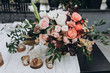 Leinwandbild Motiv banquet table is decorated with compositions of flowers and greenery