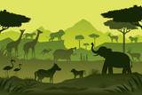 Animals and Wildlife Green Background, Silhouette, Nature, Zoo and Safari - 213768927
