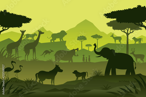 Plakat Animals and Wildlife Green Background, Silhouette, Nature, Zoo and Safari