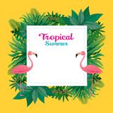Pink Flamingo with Tropical Jungle Frame