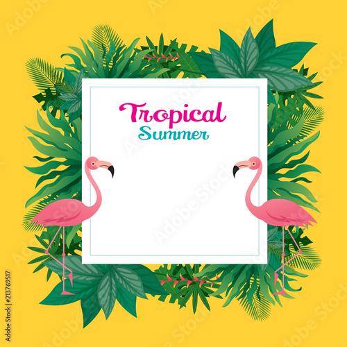 Różowy flaming z tropikalną ramą dżungli