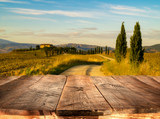 wooden planks with Italian landscape on background. Ideal for product placement - 213769932
