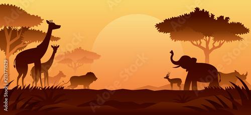 Fotobehang Bruin African Safari Animals Silhouette Background