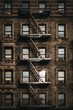 Facade of a typical New York block of flats with fire escape at the front, sun reflects in the windows. - 213772323