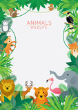 Wild Animals in Jungle, Frame, Kids and Cute Cartoon Style