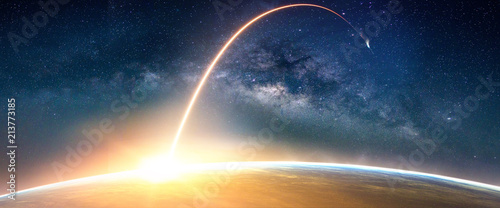 Plexiglas Zonsopgang Landscape with Milky way galaxy. Sunrise and Earth view from space with Milky way galaxy. (Elements of this image furnished by NASA)