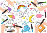 children draw on paper-  vector illustration, eps