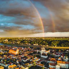 Double rainbow over Kaunas old town, Lithuania