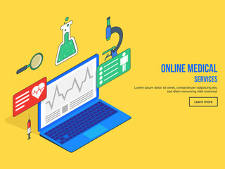 Online medical service landing page design with Isometric view of different medical equipment, services and laptop on yellow background. © Abdul Qaiyoom