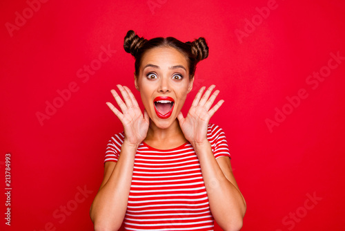 Leinwanddruck Bild WOW! Portrait of astonished surprised girl with wide open mouth eyes gesturing with palms near face isolated on red background