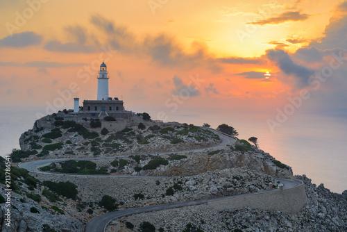 Plexiglas Zonsopgang Formentor Lighthouse at sunrise, Majorca, Spain