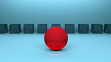 Rote Kugel im Fokus. Im Hintergrund sind blaue Würfel zu sehen. Symbol für einen Anführer, der voran geht - 213801562