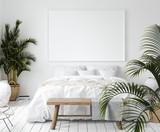 Mock-up poster frame in bedroom, Scandinavian style, 3d render - 213803564