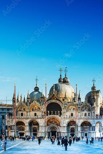 VENICE, ITALY - December 21, 2017 : St Mark's Campanile in Venice, ITALY - 213807369