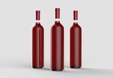 Wine bottle mock up without label. Isolated on light gray background. 3D illustration - 213810957