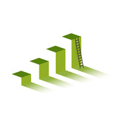 green graph with ladder to mountain peak. - 213815900