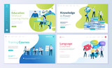 Set of web page design templates for distance education, consulting, training, language courses. Modern vector illustration concepts for website and mobile website development.  - 213815911