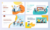 Fototapety Set of web page design templates for book library, online learning, education. Modern vector illustration concepts for website and mobile website development.