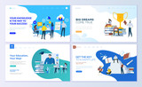 Set of web page design templates for staff education, consulting, college, education app. Modern vector illustration concepts for website and mobile website development.  - 213817562