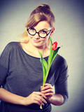 Beauty woman with tulip flower. - 213822725