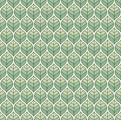 Geometric green leaves vector seamless pattern. Abstract vector texture. Leaf background.