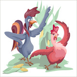 The rooster and the chicken dance