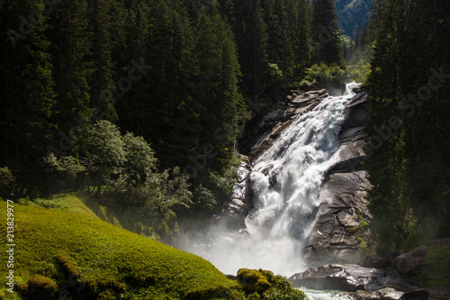 Impressive view on the waterfalls of krimml in austria (Krimmler Wasserfälle) - 213829977