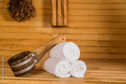 Ladle and Towels in Sauna