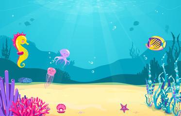 Underwater cartoon background with fish, sand, seaweed, pearl, jellyfish, coral, starfish, octopus, sea horse. Ocean sea life, cute design