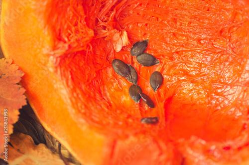 Orange pumpkin pulp and seeds - 213843998