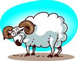 cartoon ram has blink to us funny vector illustration  - 213846900