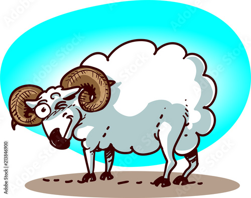cartoon ram has blink to us funny vector illustration  - 213846900