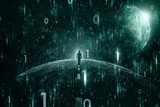 Man on abstract cyberspace road with grunge binary numbers network background. - 213848594