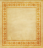 Decorative ethnic border on a piece of parchment. Native Americans style.  - 213848951