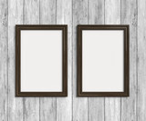 Wooden frames on wooden wall - 213849912
