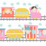 Lovely girls ride the train seamless pattern. Cute kids graphic. Vector hand drawn illustration. - 213853722