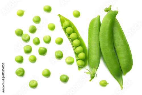 fresh green peas isolated on a white background. top view