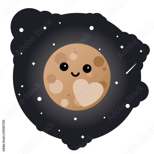 Fototapeta Cartoon dwarf planet pluto in the sky - isolated vector illustration