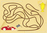 Maze game for kids. Ride the race car to the prize. - 213858159
