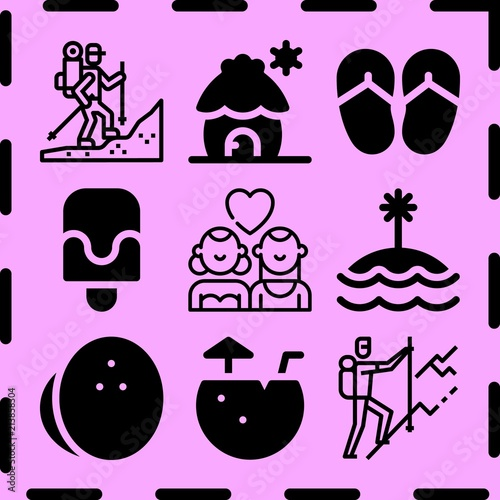 Aluminium Purper Simple 9 icon set of summer related [iconsRandom:4] vector icons. Collection Illustration