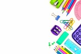 School supplies side border isolated on a white background - 213859166