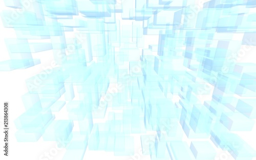 Blue and white abstract digital and technology background. The pattern with repeating rectangles. 3D illustration - 213864308