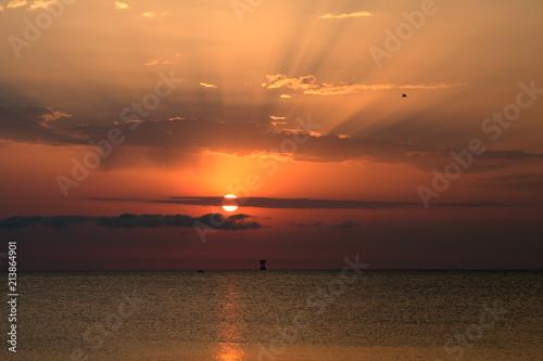 sun,sea,sunrise,horizon,summer,panorama,sun,orange,view,sky,light,water - 213864901